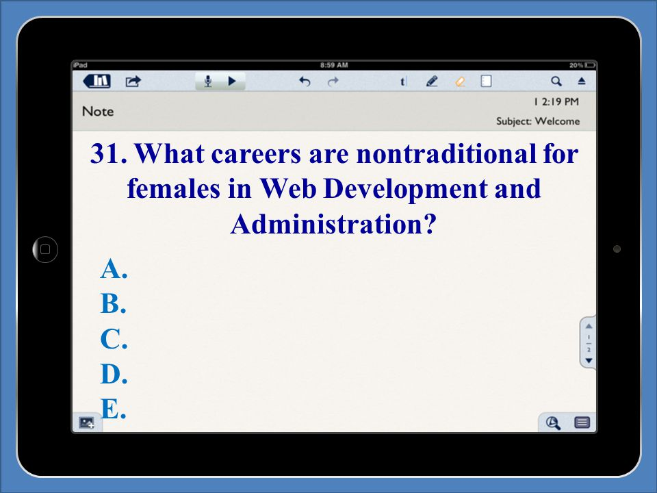 31. What careers are nontraditional for females in Web Development and Administration.