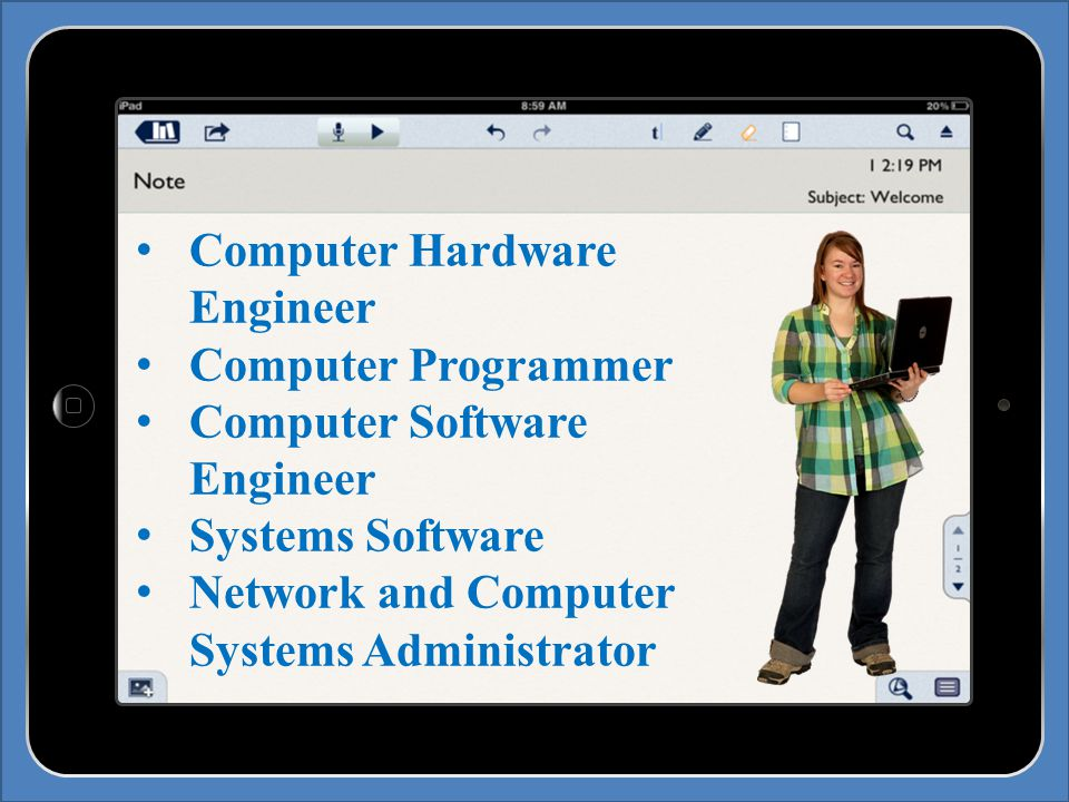 Computer Hardware Engineer Computer Programmer Computer Software Engineer Systems Software Network and Computer Systems Administrator