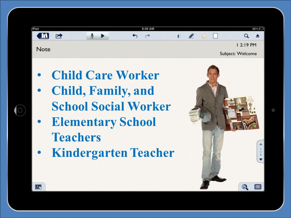 Child Care Worker Child, Family, and School Social Worker Elementary School Teachers Kindergarten Teacher