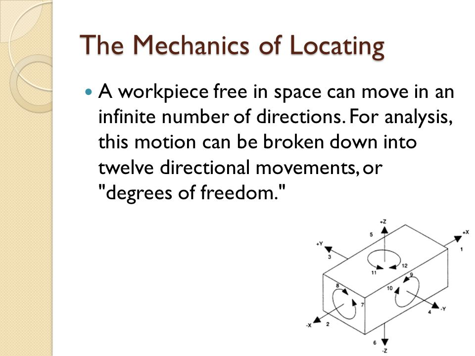 Locators and clamps The devices that restrict a workpiece s movement are the locators.