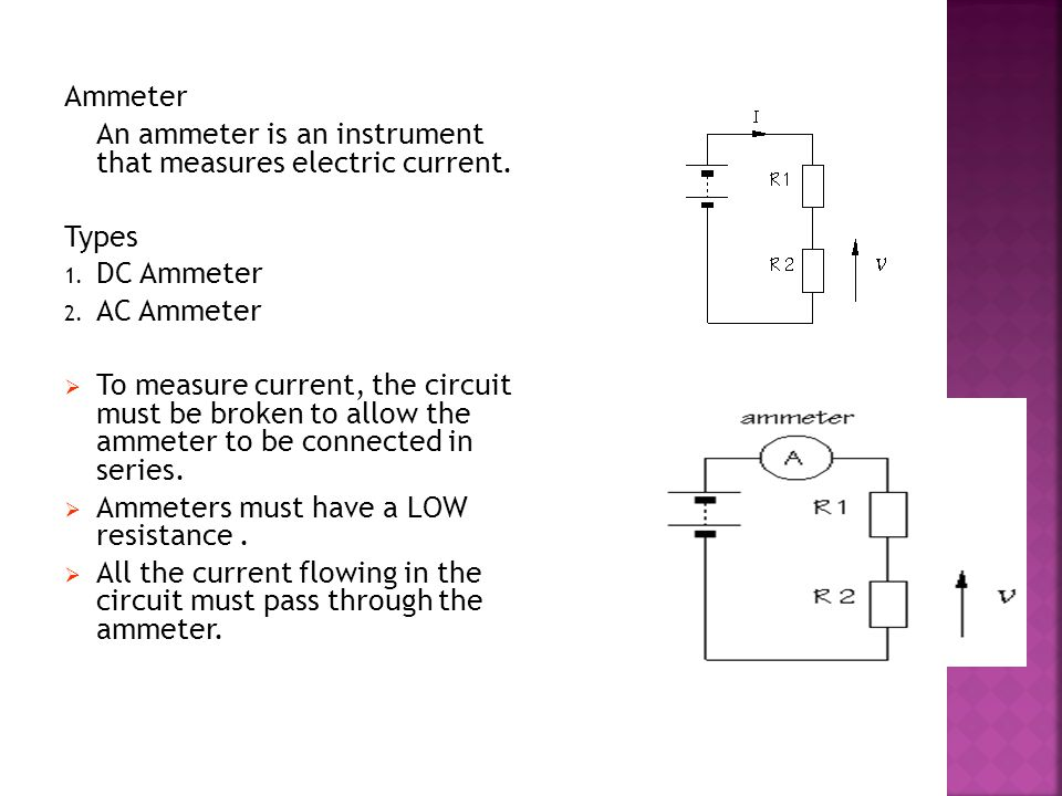 Ammeter An ammeter is an instrument that measures electric current. Types 1. DC Ammeter 2. AC Ammeter TTo measure current, the circuit must be broke