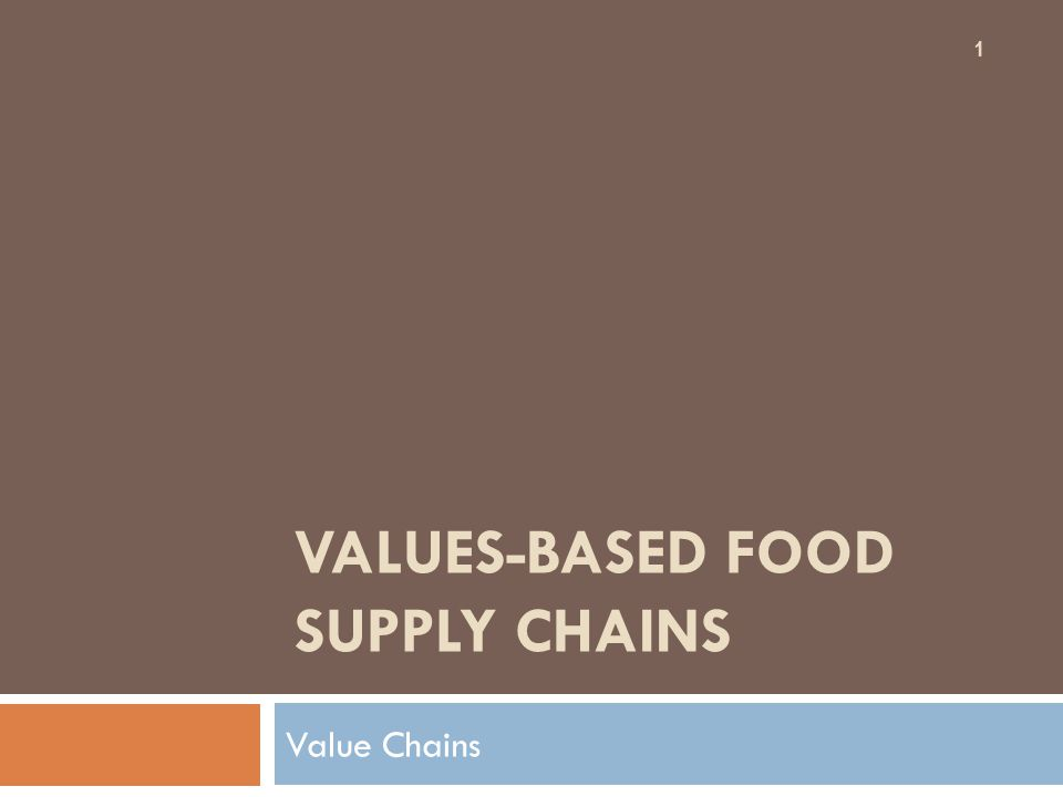 VALUES-BASED FOOD SUPPLY CHAINS Value Chains 1