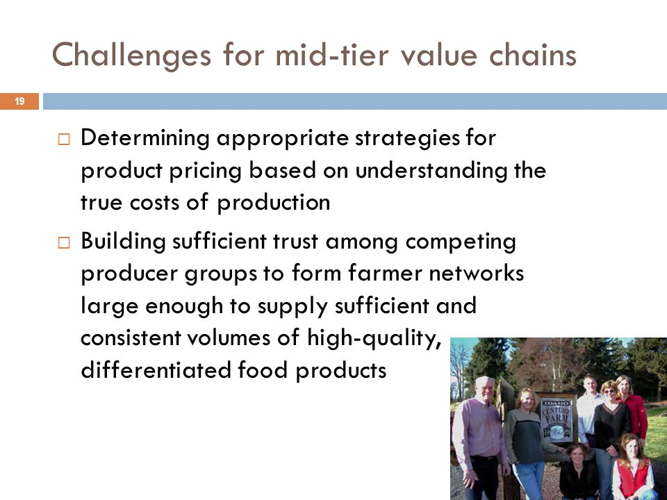 Challenges for mid-tier value chains 19  Determining appropriate strategies for product pricing based on understanding the true costs of production  Building sufficient trust among competing producer groups to form farmer networks large enough to supply sufficient and consistent volumes of high-quality, differentiated food products