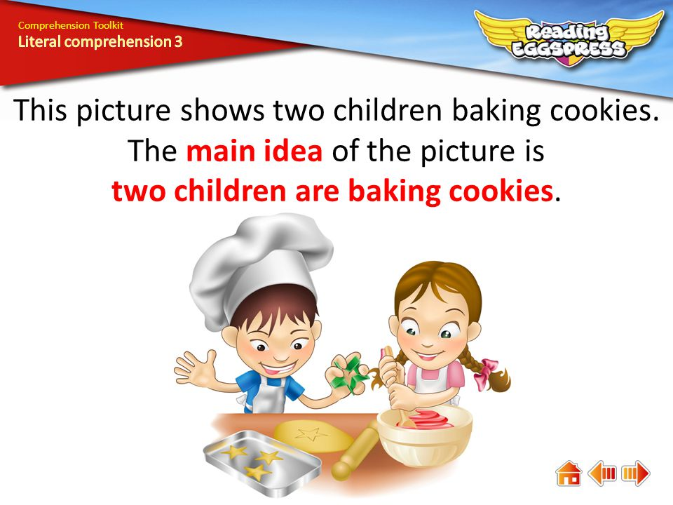 Comprehension Toolkit This picture shows two children baking cookies.