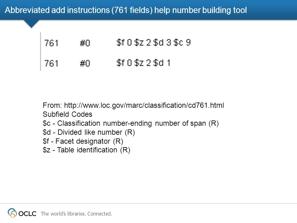 The world's libraries. Connected. Abbreviated add instructions (761 fields) help number building tool From: http://www.loc.gov/marc/classification/cd7