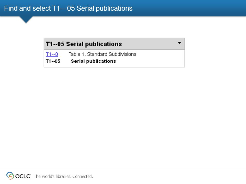 The world's libraries. Connected. Find and select T1—05 Serial publications