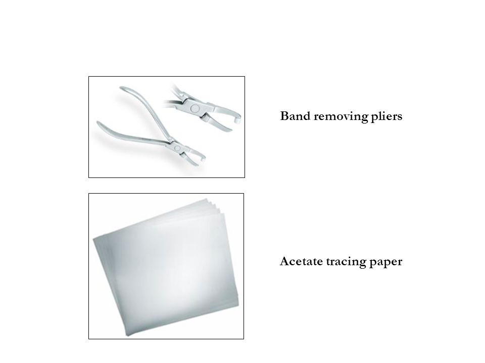 Band removing pliers Acetate tracing paper