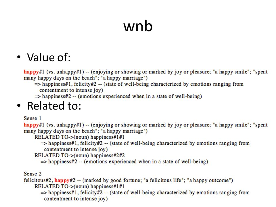 wnb Value of: Related to: