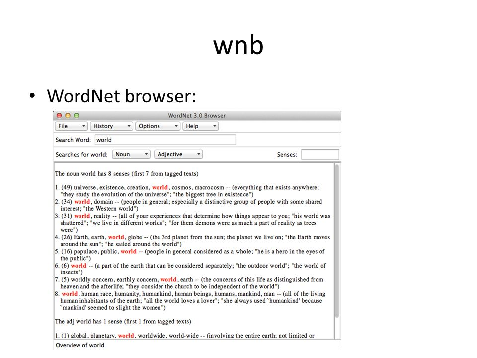 wnb WordNet browser: