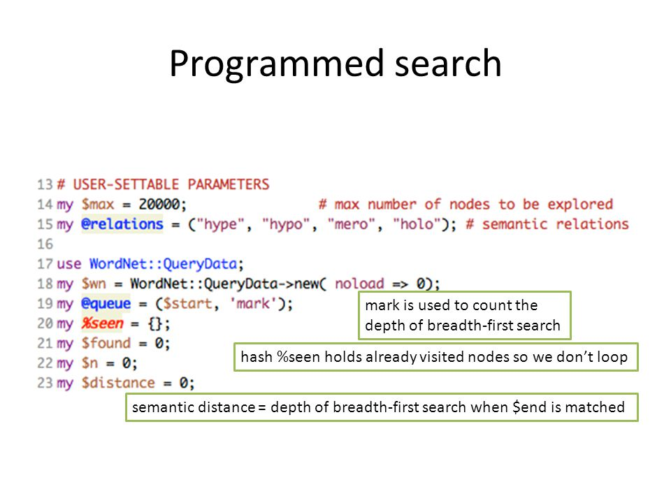 Programmed search mark is used to count the depth of breadth-first search hash %seen holds already visited nodes so we don't loop semantic distance = depth of breadth-first search when $end is matched