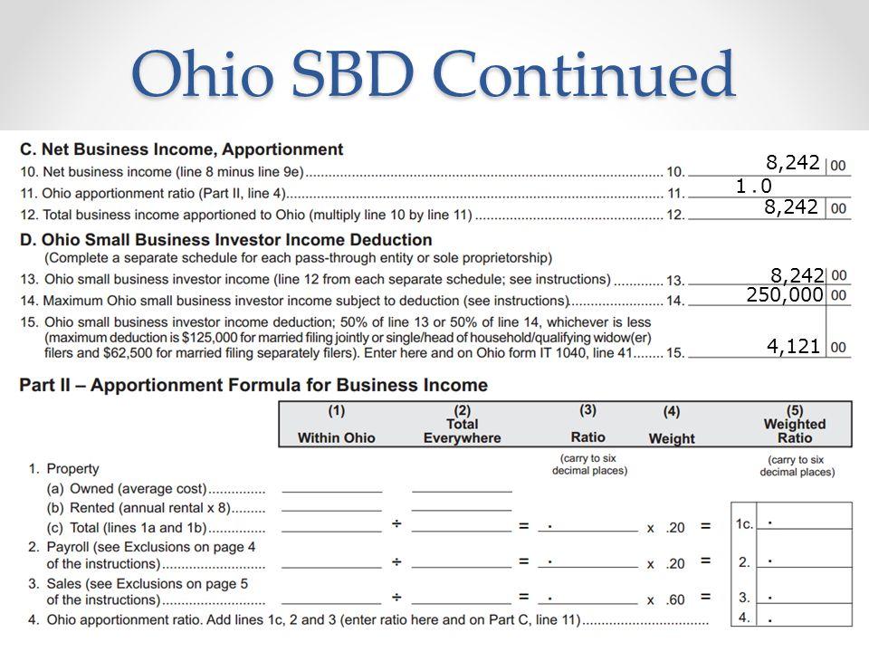 Ohio SBD Continued 18 8,242 1 0 8,242 250,000 4,121