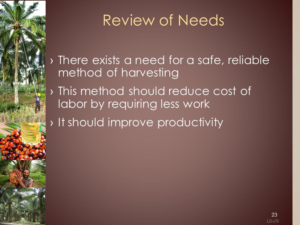 ›There exists a need for a safe, reliable method of harvesting ›This method should reduce cost of labor by requiring less work › It should improve productivity Review of Needs 23 Louis
