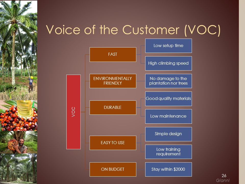 VOC FAST Low setup time High climbing speed ENVIRONMENTALLY FRIENDLY No damage to the plantation nor trees DURABLE Good quality materials Low maintenance EASY TO USE Simple design Low training requirement ON BUDGETStay within $2000 Voice of the Customer (VOC) 26 Gianni