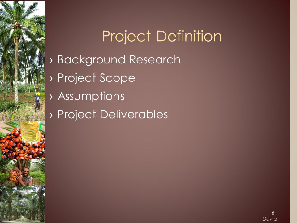 ›Background Research ›Project Scope ›Assumptions ›Project Deliverables Project Definition 6 David
