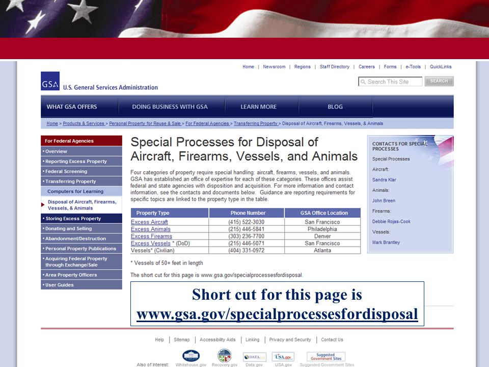 Short cut for this page is www.gsa.gov/specialprocessesfordisposal