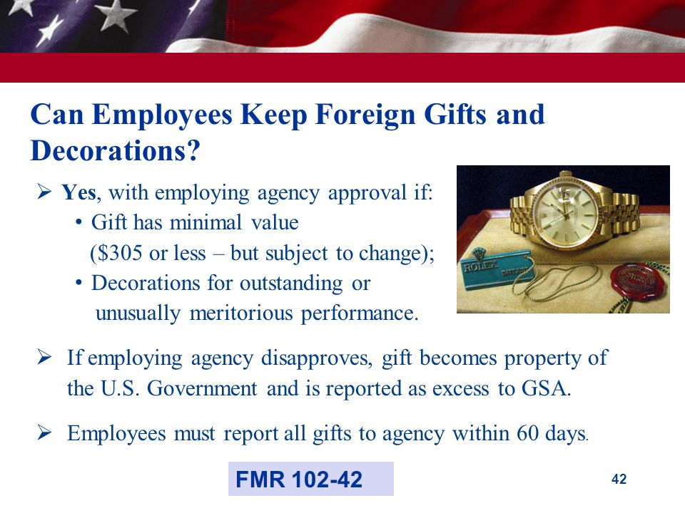 42 Can Employees Keep Foreign Gifts and Decorations.