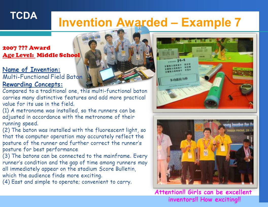 TCDA Invention Awarded – Example 7 2007 .