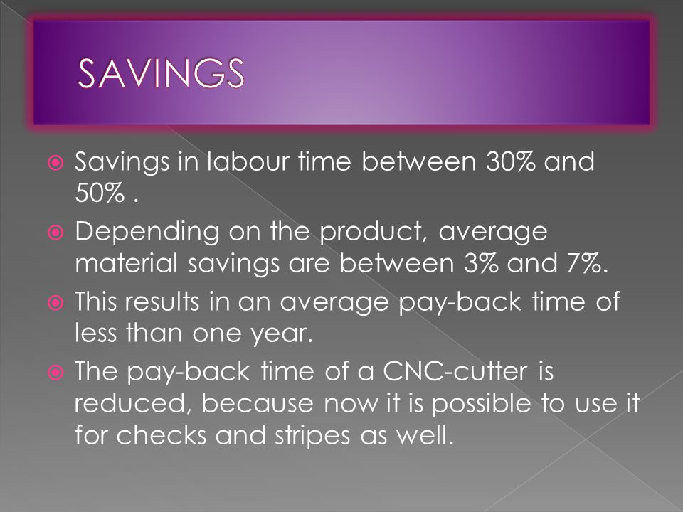  Savings in labour time between 30% and 50%.