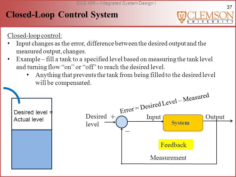 37 ECE 495 – Integrated System Design I Closed-Loop Control System Closed-loop control: Input changes as the error, difference between the desired output and the measured output, changes.