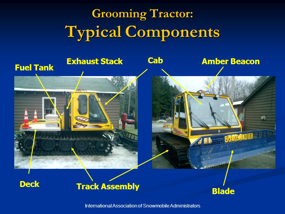 International Association of Snowmobile Administrators Grooming Tractor: Typical Components Track Assembly Blade Deck Cab Fuel Tank Exhaust StackAmber