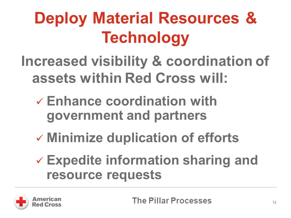 Deploy Material Resources & Technology Increased visibility & coordination of assets within Red Cross will: Enhance coordination with government and p