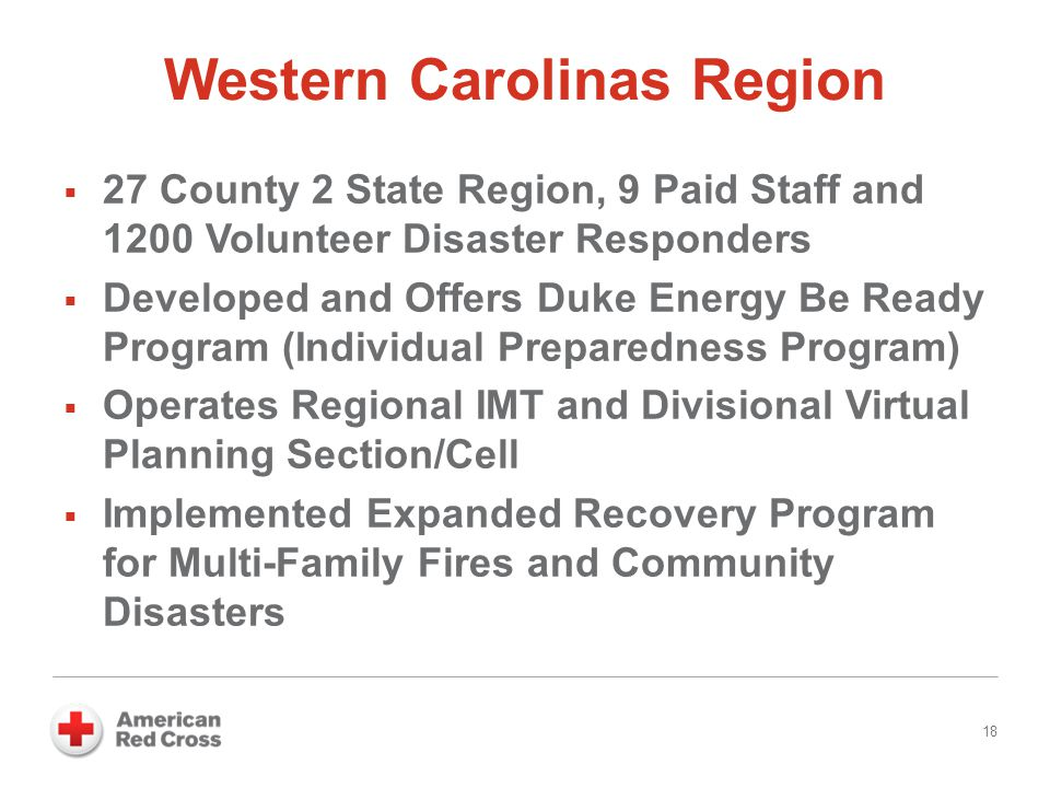 Western Carolinas Region 18  27 County 2 State Region, 9 Paid Staff and 1200 Volunteer Disaster Responders  Developed and Offers Duke Energy Be Read