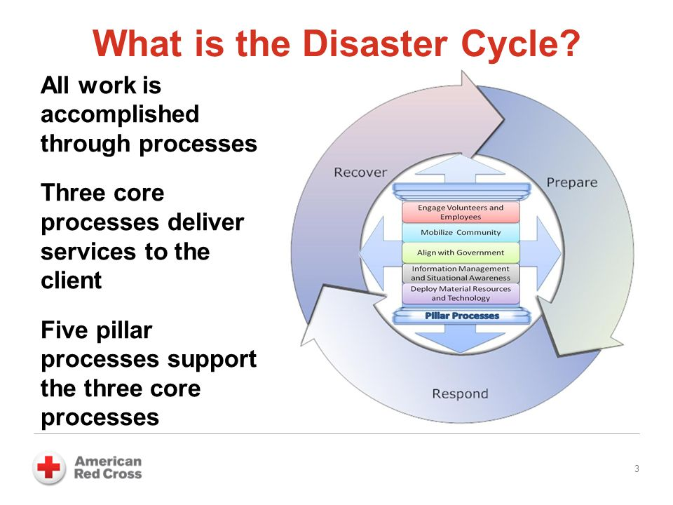 What is the Disaster Cycle? 3 All work is accomplished through processes Three core processes deliver services to the client Five pillar processes sup