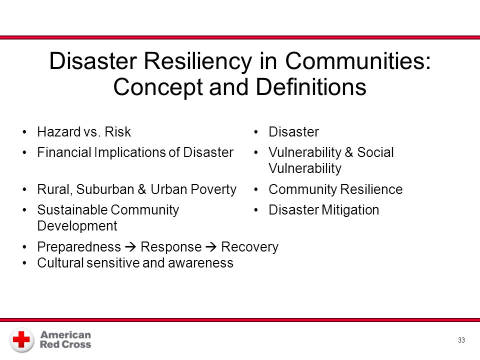33 Disaster Resiliency in Communities: Concept and Definitions Hazard vs. RiskDisaster Financial Implications of DisasterVulnerability & Social Vulner