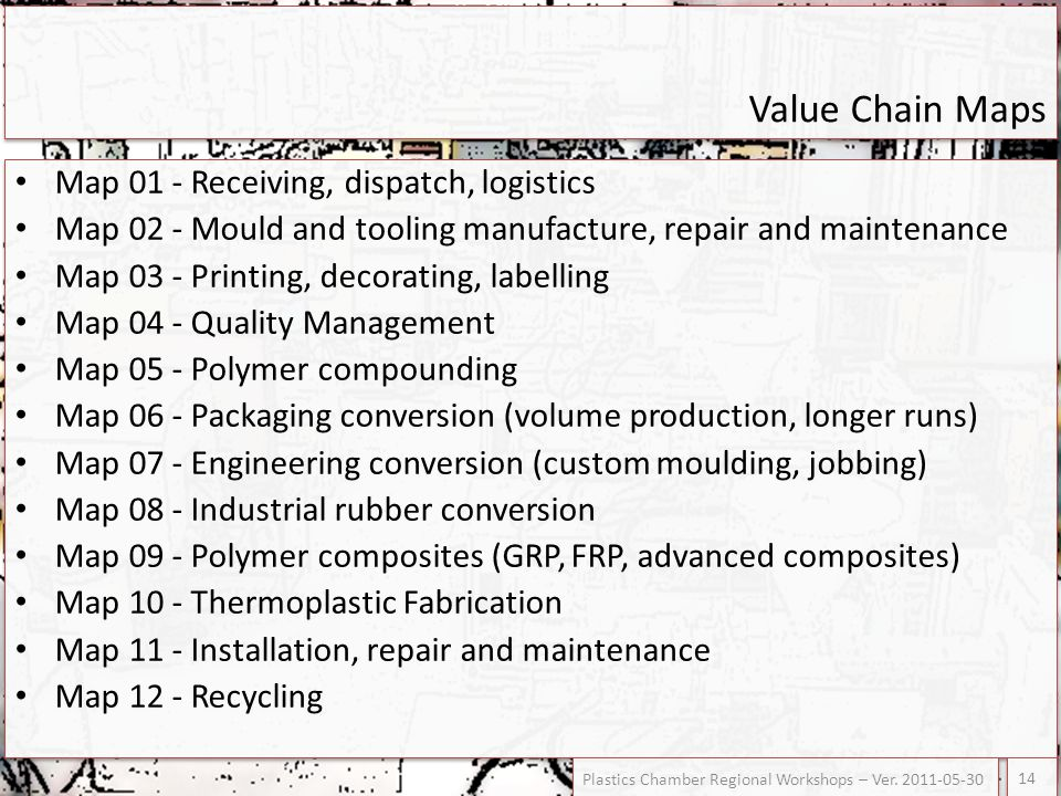Value Chain Maps Map 01 - Receiving, dispatch, logistics Map 02 - Mould and tooling manufacture, repair and maintenance Map 03 - Printing, decorating,