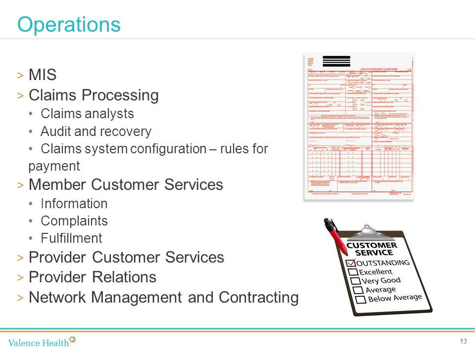 Operations 13 > MIS > Claims Processing Claims analysts Audit and recovery Claims system configuration – rules for payment > Member Customer Services Information Complaints Fulfillment > Provider Customer Services > Provider Relations > Network Management and Contracting