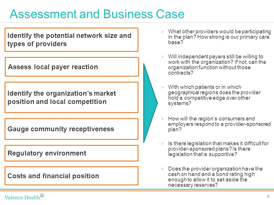Assessment and Business Case 6 > What other providers would be participating in the plan.