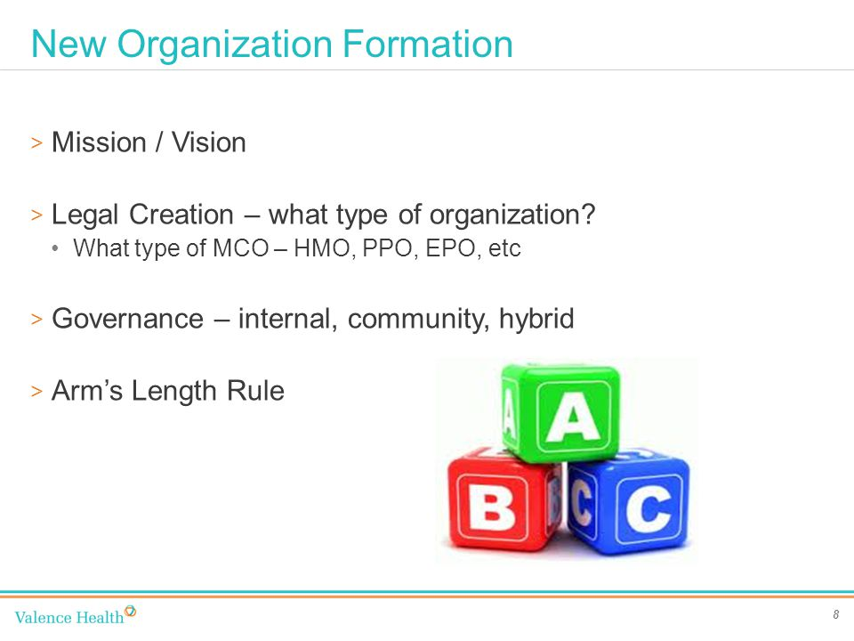 New Organization Formation 8 > Mission / Vision > Legal Creation – what type of organization.