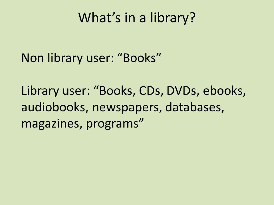 What's in a library.