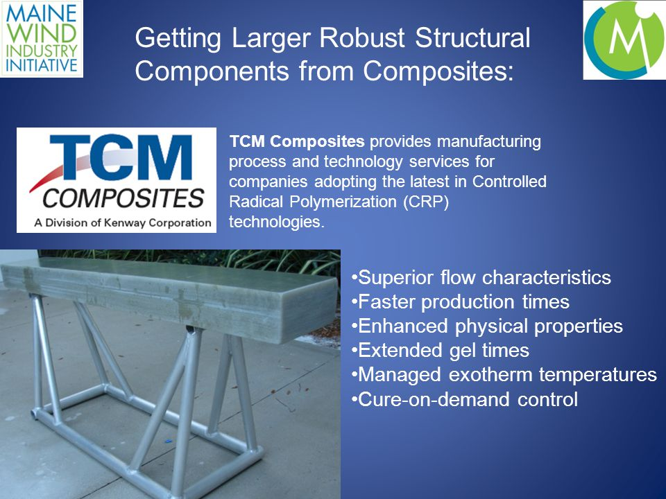 Superior flow characteristics Faster production times Enhanced physical properties Extended gel times Managed exotherm temperatures Cure-on-demand control TCM Composites provides manufacturing process and technology services for companies adopting the latest in Controlled Radical Polymerization (CRP) technologies.