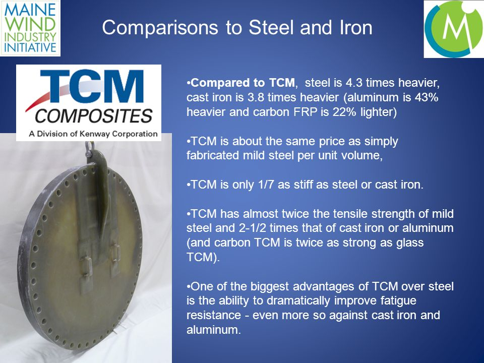 Compared to TCM, steel is 4.3 times heavier, cast iron is 3.8 times heavier (aluminum is 43% heavier and carbon FRP is 22% lighter) TCM is about the same price as simply fabricated mild steel per unit volume, TCM is only 1/7 as stiff as steel or cast iron.