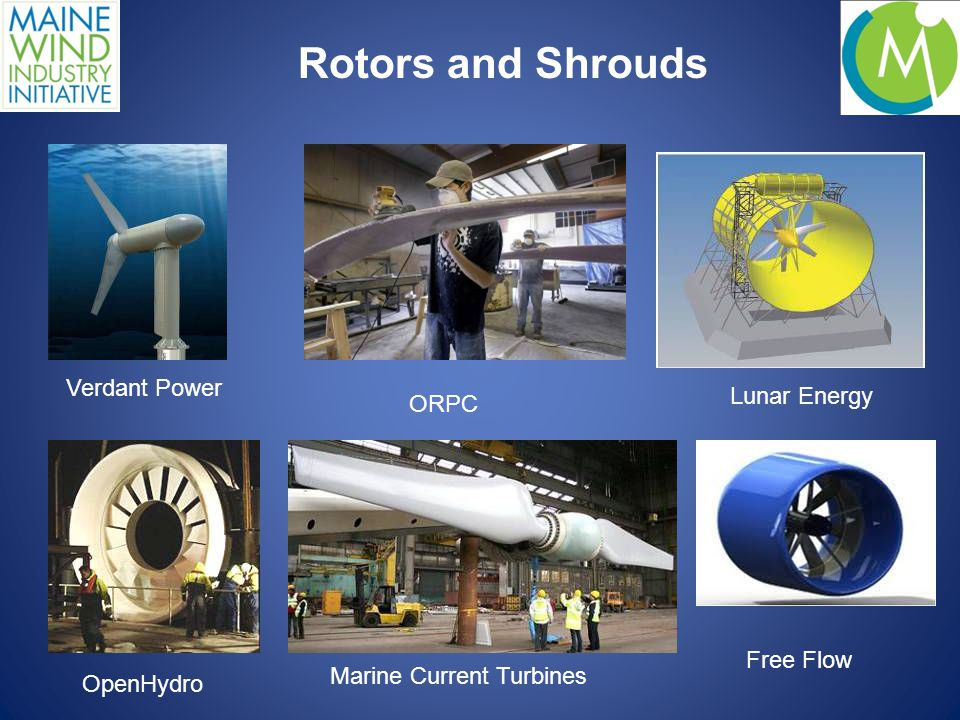 Rotors and Shrouds Verdant Power ORPC Lunar Energy OpenHydro Marine Current Turbines Free Flow