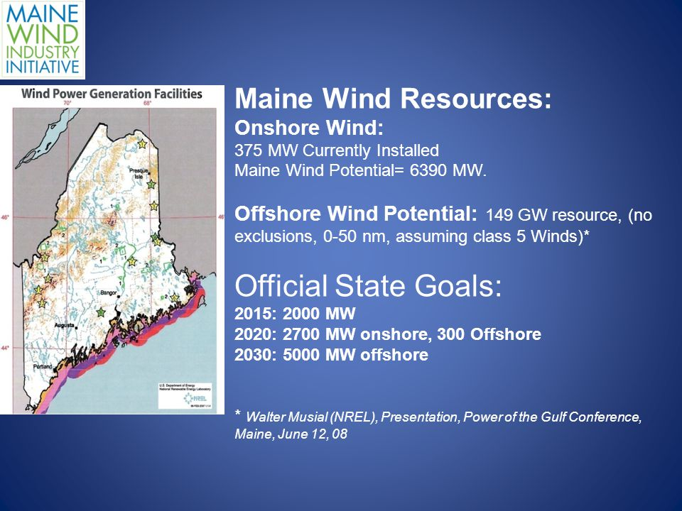 Maine Wind Resources: Onshore Wind: 375 MW Currently Installed Maine Wind Potential= 6390 MW.