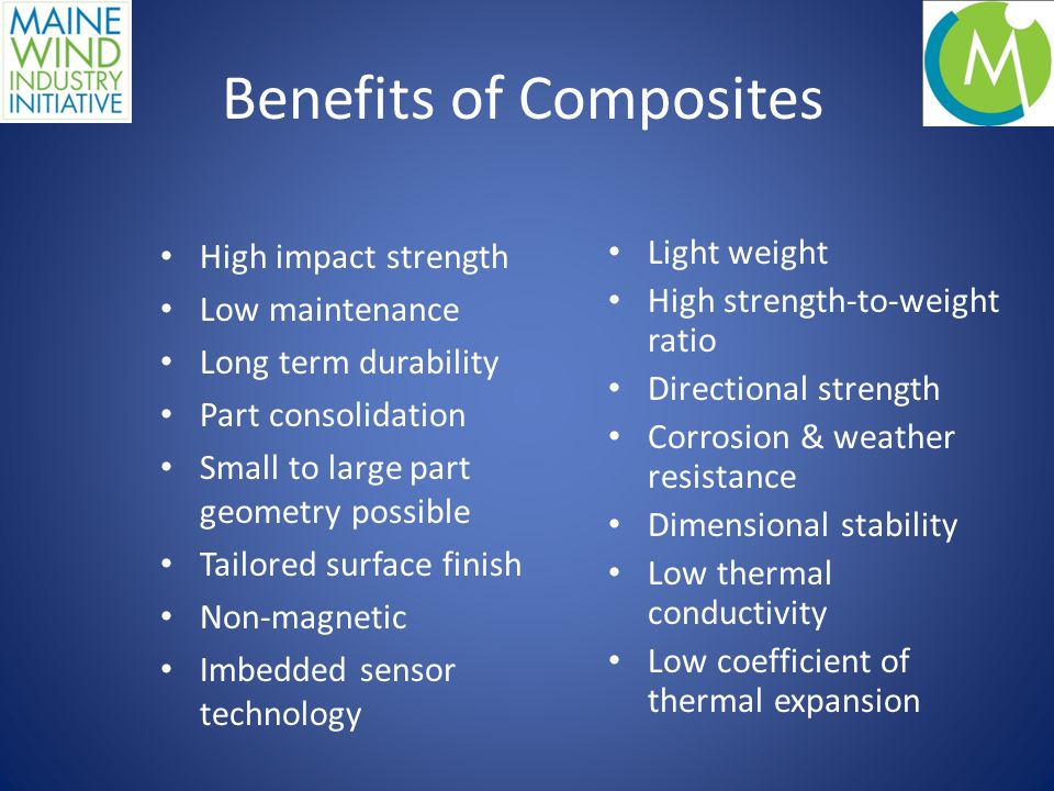 Composites Strong and diverse composites industry Examples: