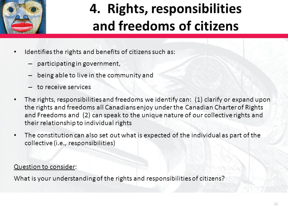 11 Identifies the rights and benefits of citizens such as: – participating in government, – being able to live in the community and – to receive services The rights, responsibilities and freedoms we identify can: (1) clarify or expand upon the rights and freedoms all Canadians enjoy under the Canadian Charter of Rights and Freedoms and (2) can speak to the unique nature of our collective rights and their relationship to individual rights The constitution can also set out what is expected of the individual as part of the collective (i.e., responsibilities) Question to consider: What is your understanding of the rights and responsibilities of citizens.