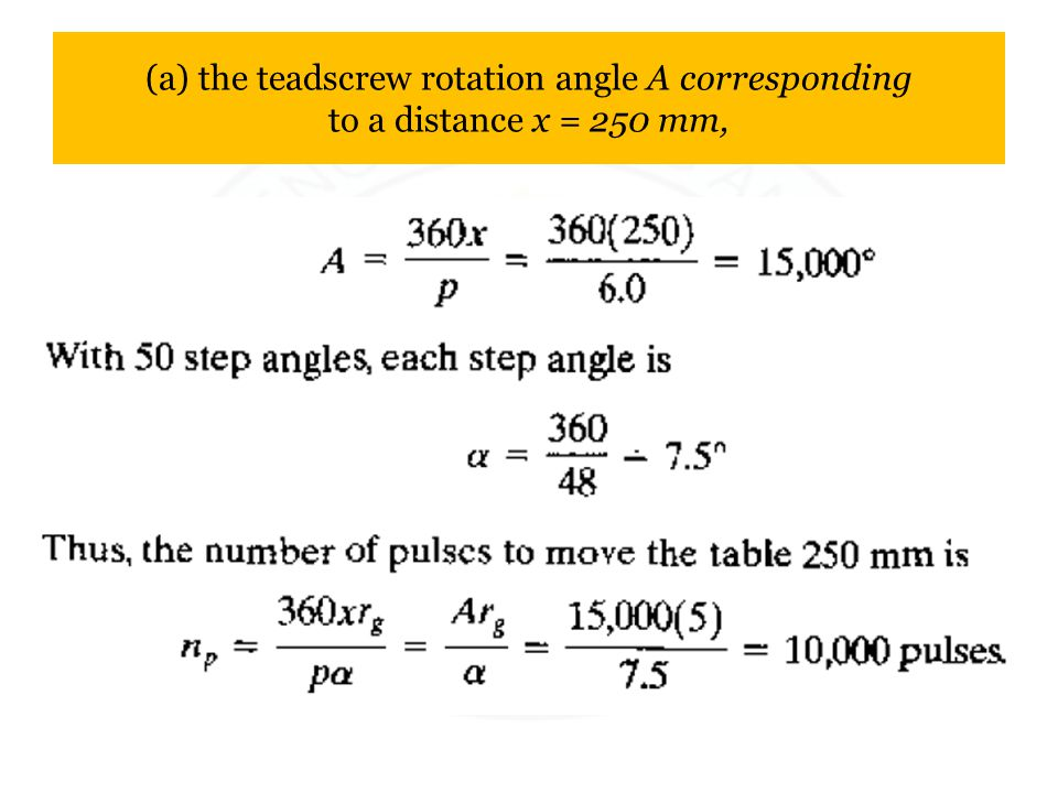 (a) the teadscrew rotation angle A corresponding to a distance x = 250 mm,