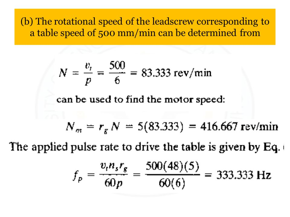 (b) The rotational speed of the leadscrew corresponding to a table speed of 500 mm/min can be determined from
