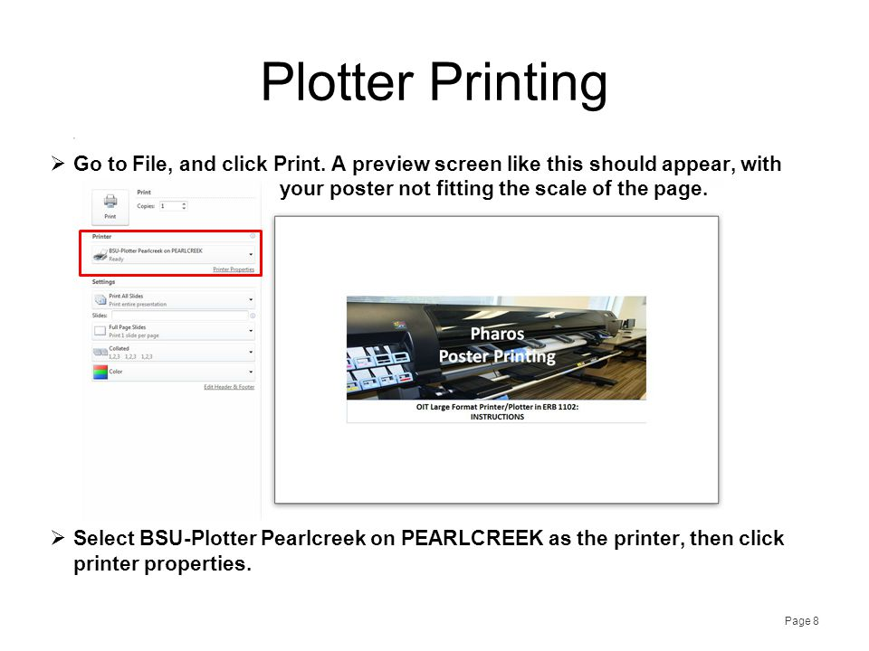 Page 9 Plotter Printing  Under the Paper/Quality tab, open the 'Quick Sets' drop-down menu, and select Poster.