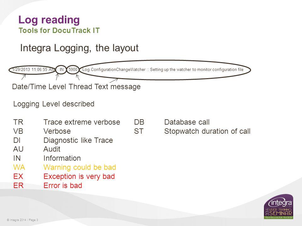 © Integra 2014 / Page 4 Log reading Tools for DocuTrack IT Integra logging log filter tool