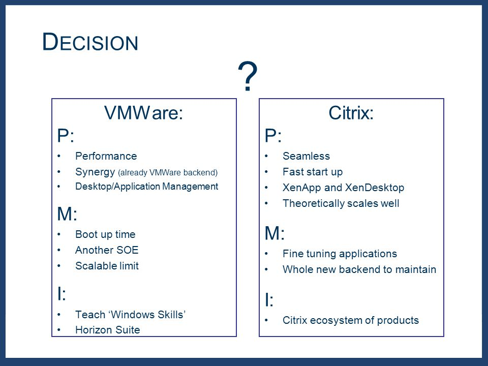 D ECISION ? VMWare: P: Performance Synergy (already VMWare backend) Desktop/Application Management M: Boot up time Another SOE Scalable limit I: Teach