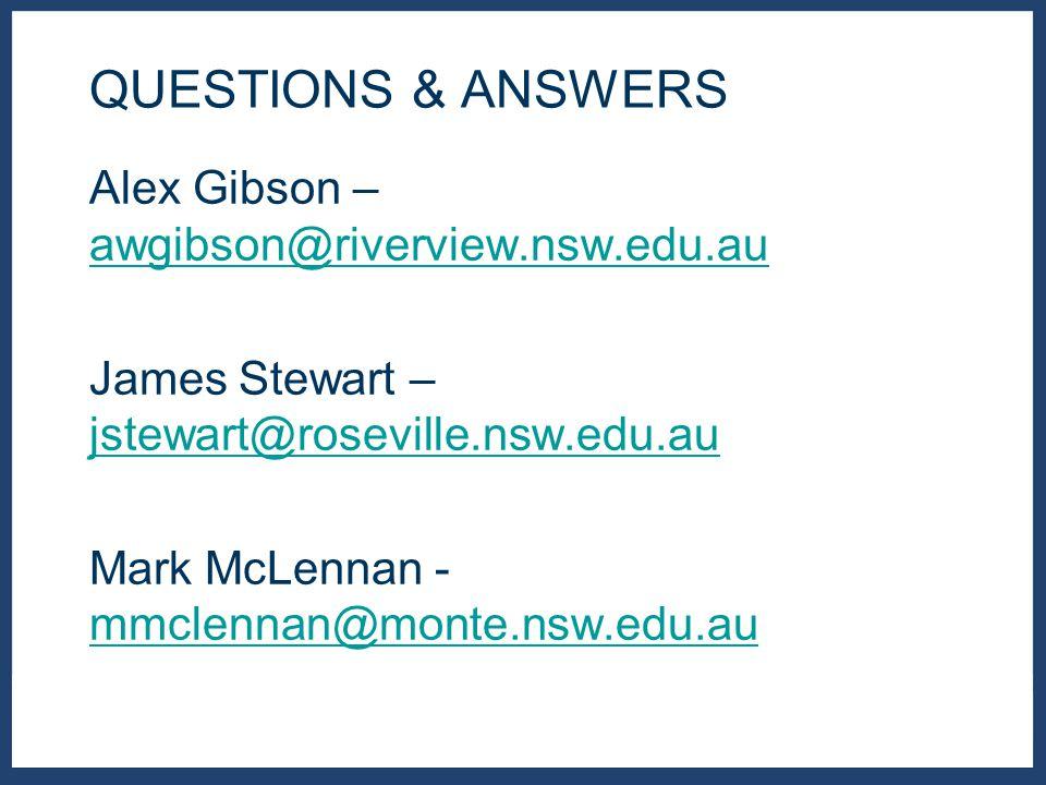 Alex Gibson – awgibson@riverview.nsw.edu.au awgibson@riverview.nsw.edu.au James Stewart – jstewart@roseville.nsw.edu.au jstewart@roseville.nsw.edu.au