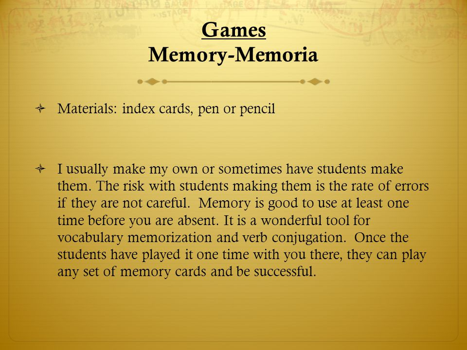 Memoria-Memory To make memory cards: 1.Cut the index cards in half.