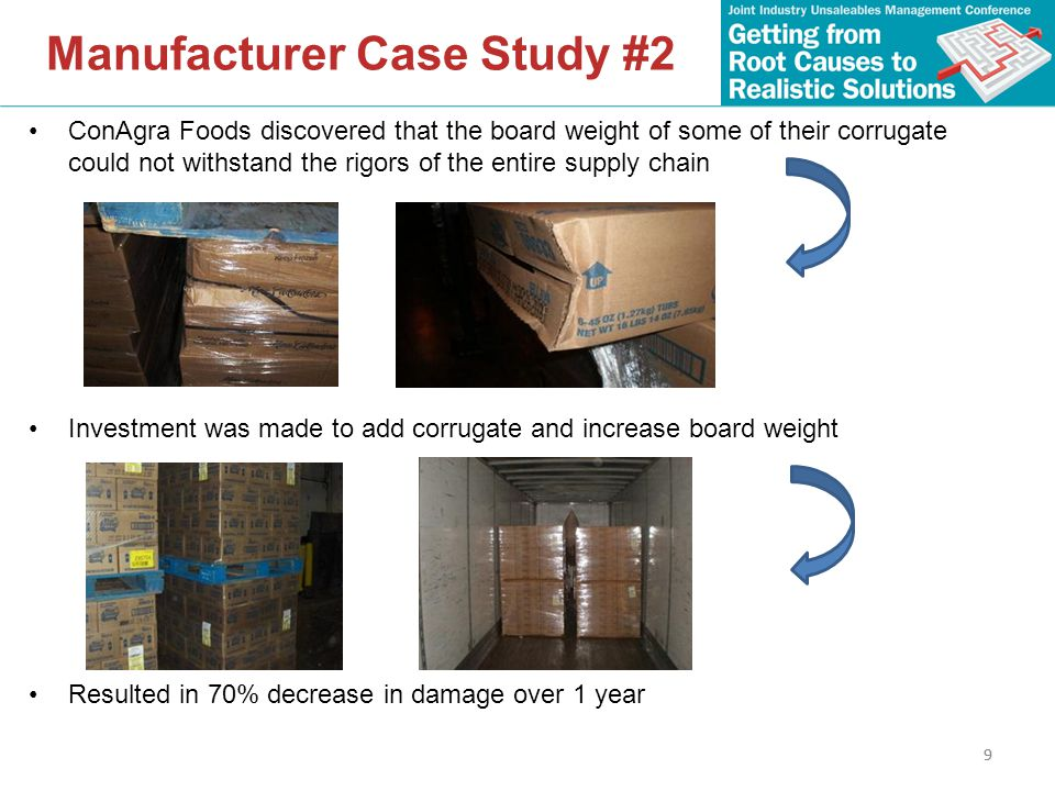 9 Manufacturer Case Study #2 ConAgra Foods discovered that the board weight of some of their corrugate could not withstand the rigors of the entire supply chain Investment was made to add corrugate and increase board weight Resulted in 70% decrease in damage over 1 year 9
