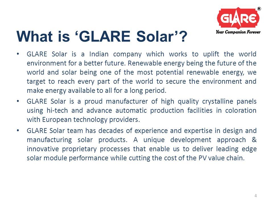 What is 'GLARE Solar'.