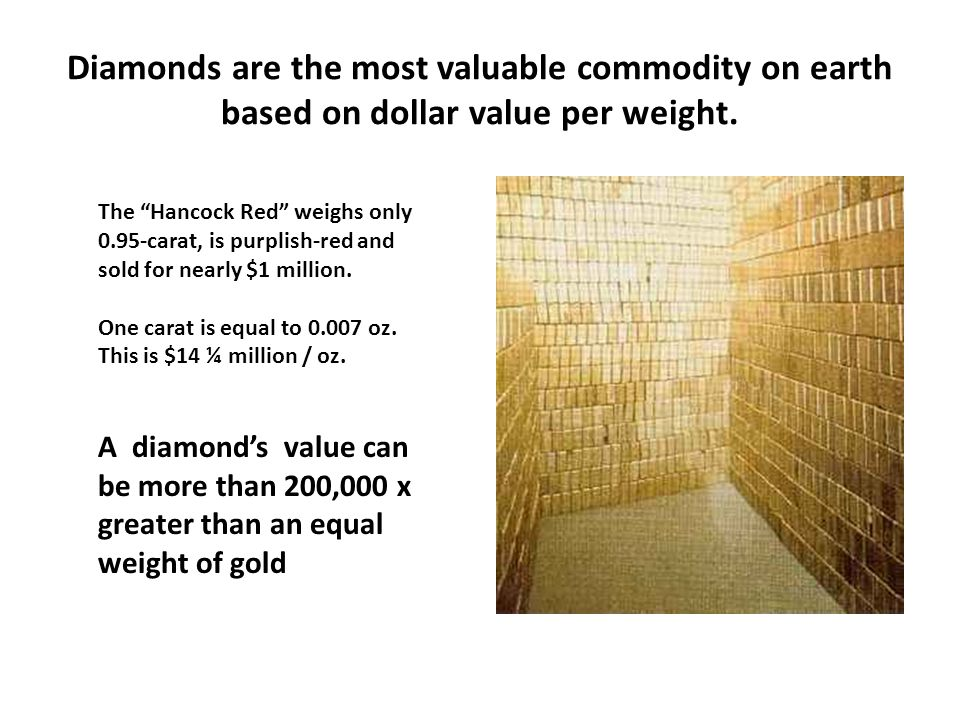 """Diamonds are the most valuable commodity on earth based on dollar value per weight. The """"Hancock Red"""" weighs only 0.95-carat, is purplish-red and sold"""