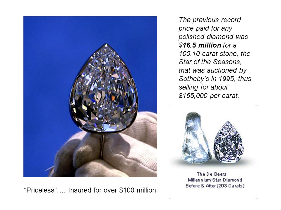 The previous record price paid for any polished diamond was $16.5 million for a 100.10 carat stone, the Star of the Seasons, that was auctioned by Sot